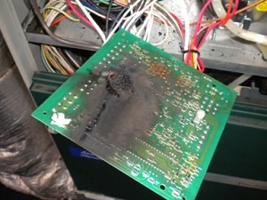 A Furnace Control Printed Circuit Board That Burned Up